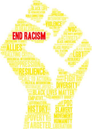 Termina la nuvola di parole razzismo in un pugno giallo. Archivio Fotografico - 93818419