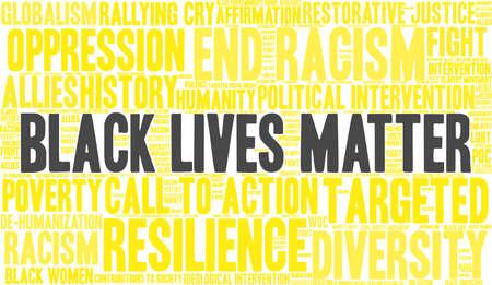 Black lives matter word cloud within a yellow rectangular shape. Иллюстрация