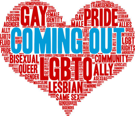 Coming out word cloud within a red heart shape.