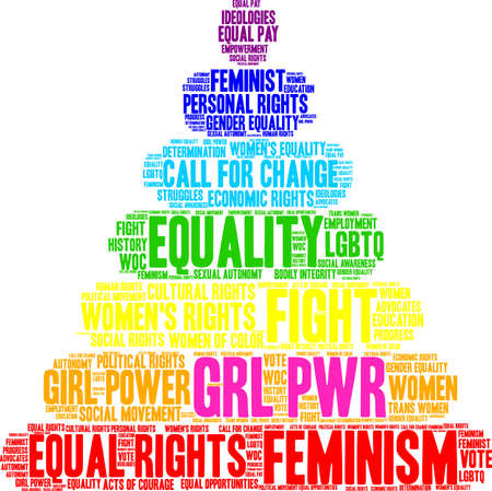GRL PWR word cloud within a colorful pyramid shape.
