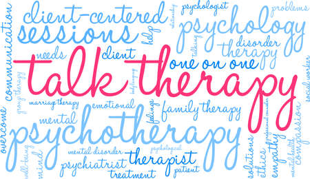 Talk therapy word cloud within a rectangular shape.