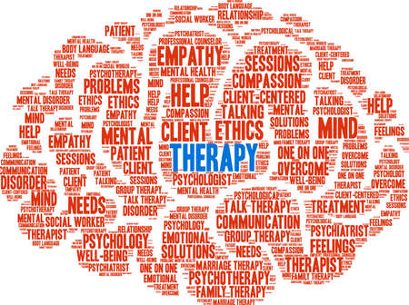 Therapy word cloud within a brain like shape. Illustration