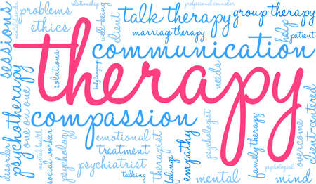 Therapy word cloud within a rectangular shape. Vectores