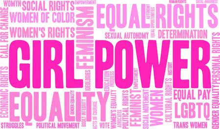 Girl power word cloud within a pink rectangular shape. Иллюстрация
