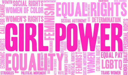 Girl power word cloud within a pink rectangular shape. Illustration