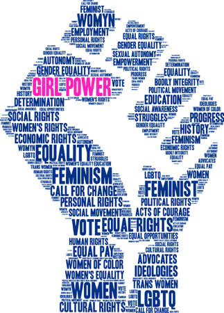 Girl power word cloud within a blue fist.