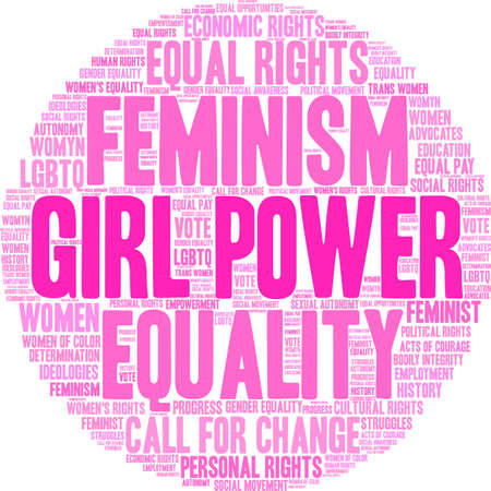 Girl Power word cloud within in circle. 向量圖像
