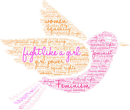 Fight like a girl word cloud within a bird.