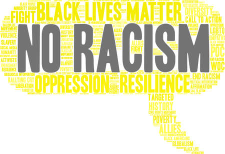 No racism word cloud within a yellow thought bubble.