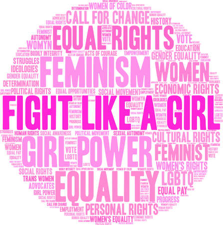 Fight like a girl word cloud within a pink circle. Illustration