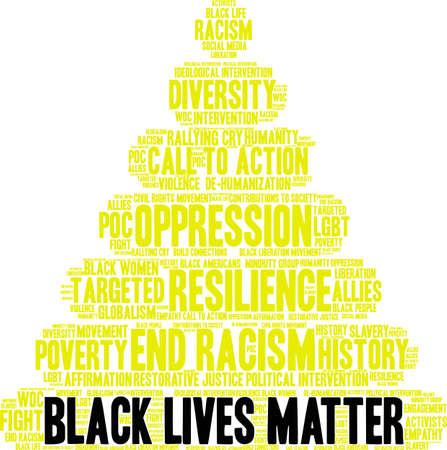 Black lives matter word cloud within a yellow pyramid. Illustration