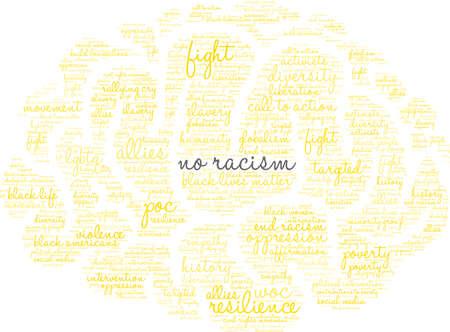 Geen racisme-woordwolk in een gele hersenachtige vorm.