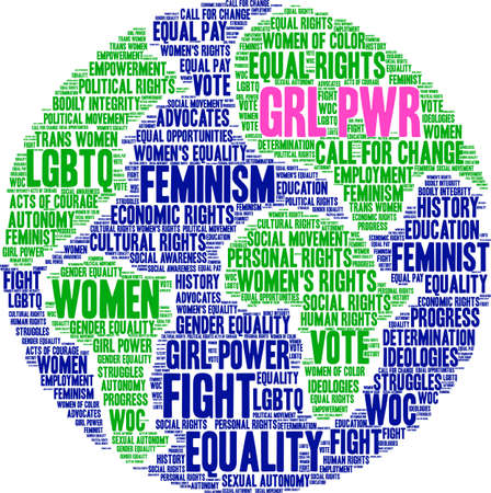 GRL PWR word cloud within a globe.