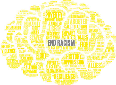End racism word cloud within a yellow brain like shape. Illustration