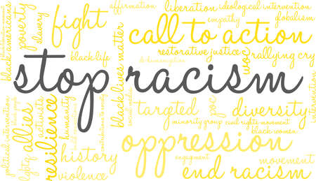 Stop racism word cloud within a yellow rectangular shape. Illustration