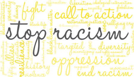 Stop racisme word cloud in een gele rechthoekige vorm.
