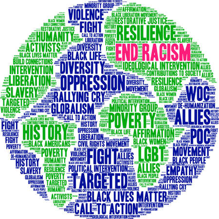 End racism word cloud within a globe.