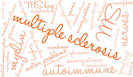 Multiple sclerosis word cloud within a rectangular shape. Illustration