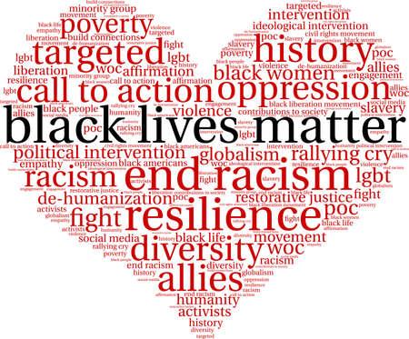 Black lives matter word cloud within a heart shape.