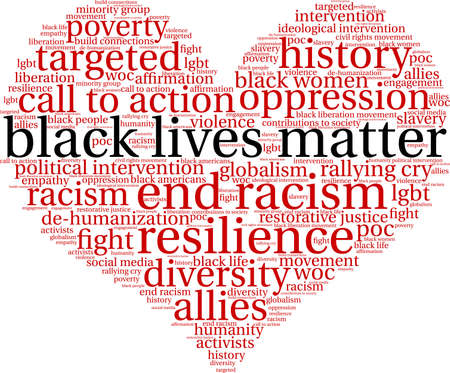 Black lives matter word cloud within a heart shape.
