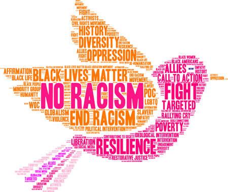 흰색 배경에 인종 차별주의 단어 구름 없음입니다.