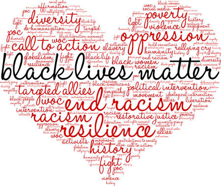 Black Lives Matter word cloud su uno sfondo bianco.