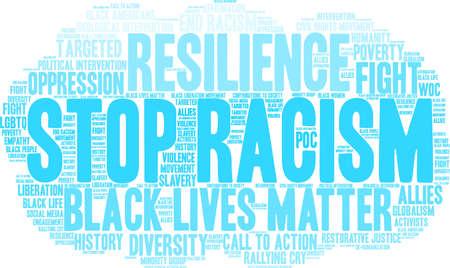 Fermi la nuvola di parola di razzismo su una priorità bassa bianca. Archivio Fotografico - 93815988