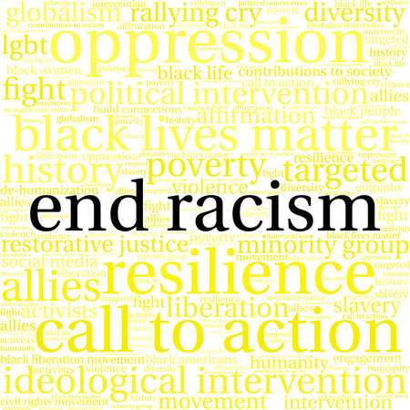 End Racism word cloud on a white background. Imagens - 93816108