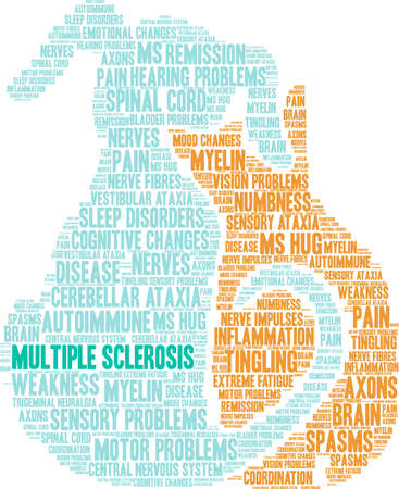 Multiple Sclerosis word cloud on a white background. Stock Vector - 93816114