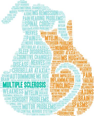 Nuvem da palavra da esclerose múltipla em um fundo branco. Ilustración de vector