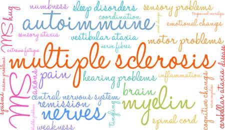 De wolk van het multiple sclerosewoord op een witte achtergrond. Stock Illustratie