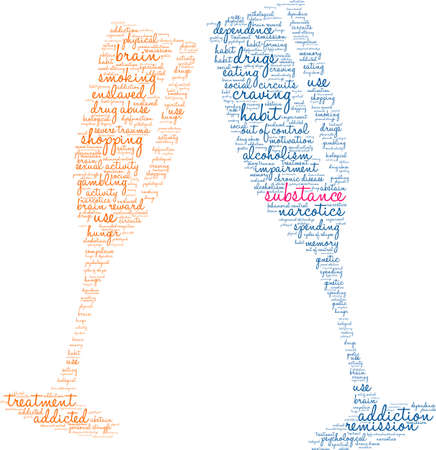 Substance word cloud within a champagne glass.