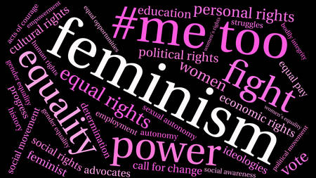 Feminism word cloud on a black background.  Illustration