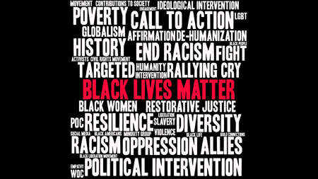 Black Lives Matter word cloud su uno sfondo nero.