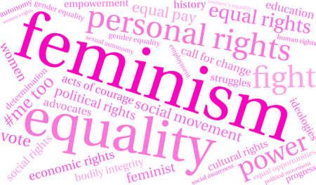 Feminism word template design Illustration