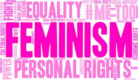 Feminism word cloud design Ilustracja