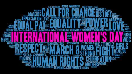 Progettazione della nuvola di parole della giornata internazionale della donna