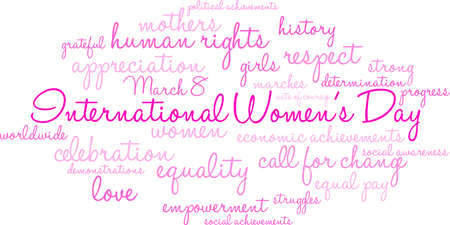 International Womens Day word cloud design Ilustração