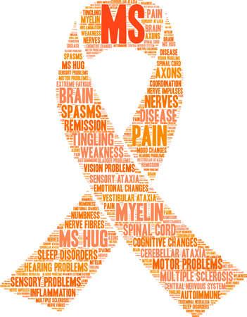 Multiple Sclerosis word cloud ribbon design Stockfoto - 95881286