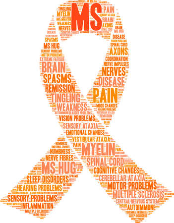 Multiple Sclerosis word cloud ribbon design