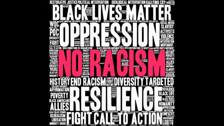 No Racism word cloud on a black background.