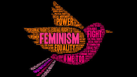 Feminism word cloud on a black background. Stock Vector - 95840804