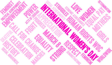 International Womens Day word cloud on a white background.  Ilustrace