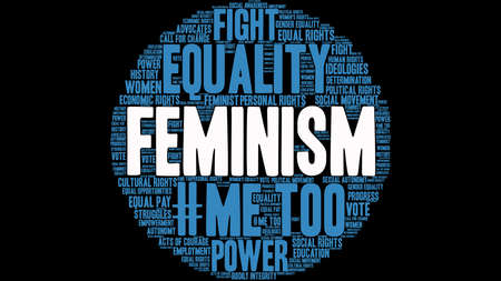 Feminism word cloud on a black background.  Иллюстрация