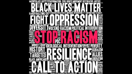 Stop Racism word cloud on a black background.  Vectores