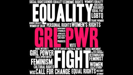 GRL PWR word cloud on a black background. This word cloud title is an alternative spelling to Girl Power.