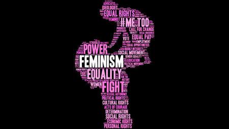 Feminism word cloud on a black background.  Illustration