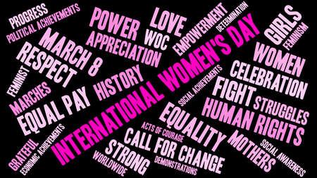 Nuvola di parola del giorno delle donne internazionali su un fondo nero.