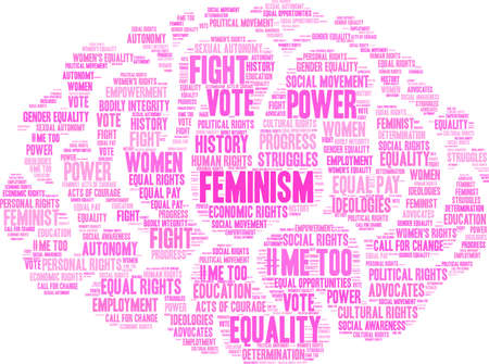 Feminism word cloud on a white background.