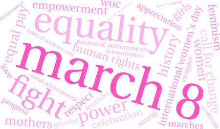 March 8 word cloud on a white background.  Ilustracja